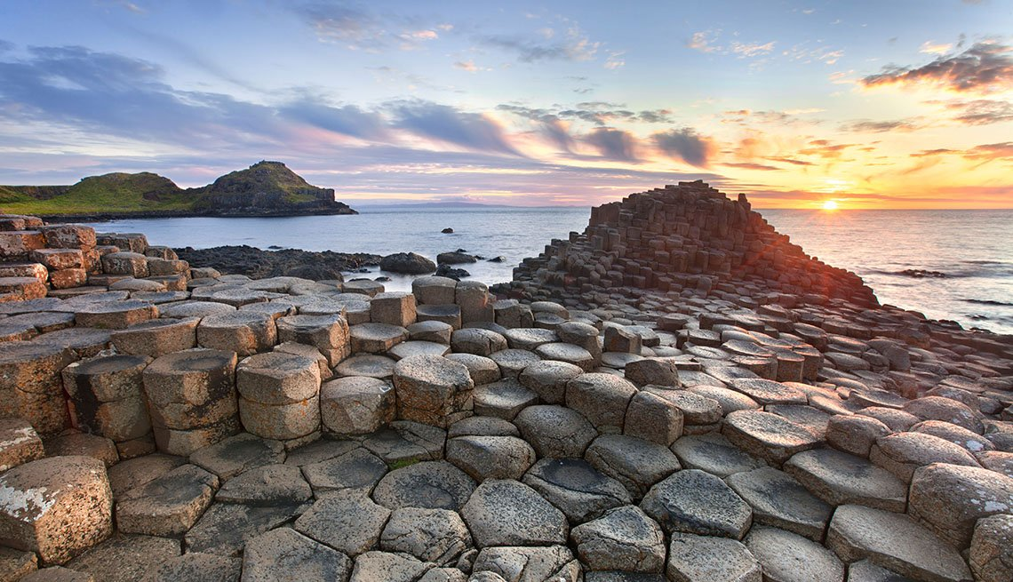 Sunset Over Giant's Causeway In Northern Ireland, Unique World Travel
