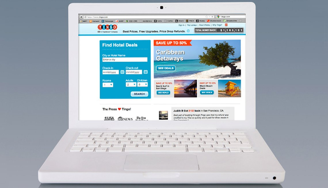Laptop with Tingo Website, 10 Tips for Stretching Your Hotel Dollars