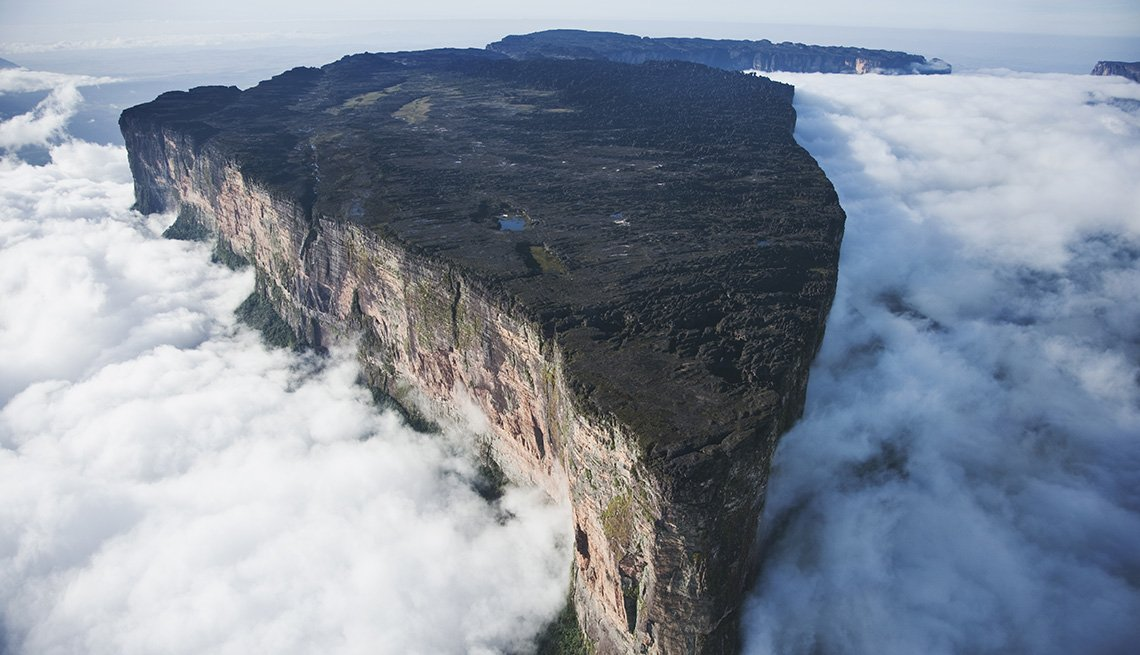 Aerial View Of Mount Roraima In Venezuela Which Sits Above The Clouds, Unique World Travel