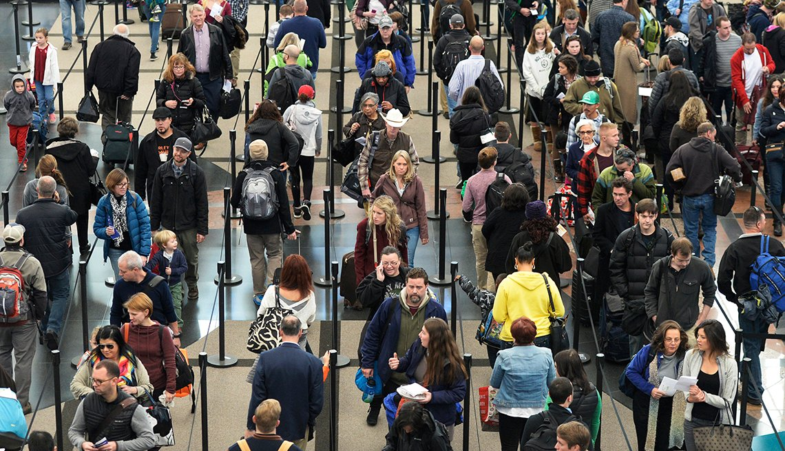 Airport Security, Lines of People, Ropes, Tips to Navigating America's Busiest Airports