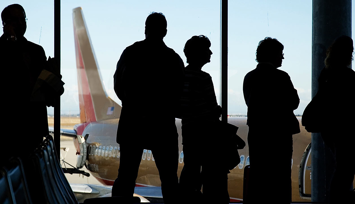 Boarding Queue Gate, Passenger Silhouettes, Aircraft Tail, Ridiculous Flying Fees-and How to Avoid Them