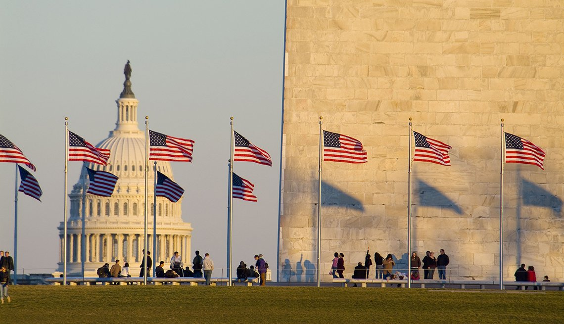 Flags, Washington Monument, Capitol, Sunset Shadows, Free and Inexpensive Attractions in America