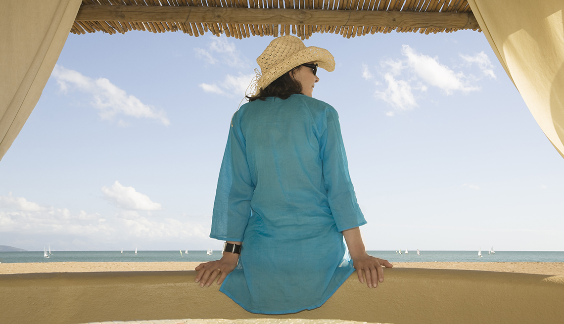 Woman Beach Shelter, Green Robe, How to Upgrade Your Next Vacation