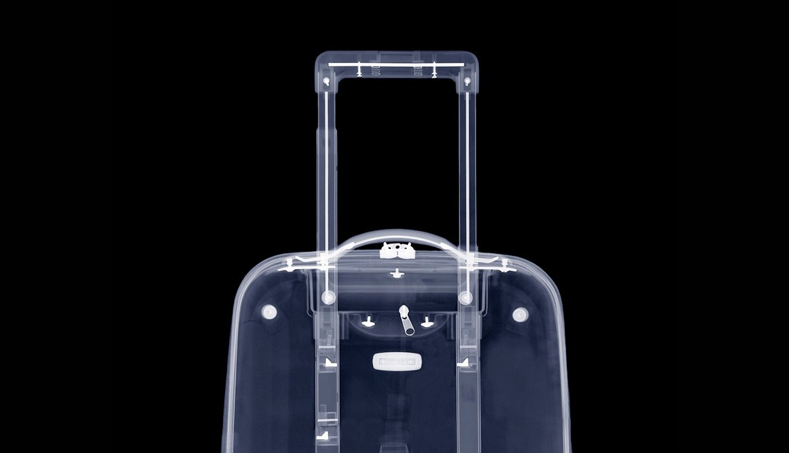 Suitcase X-Ray, White Outlines, Fly Through Airport Security