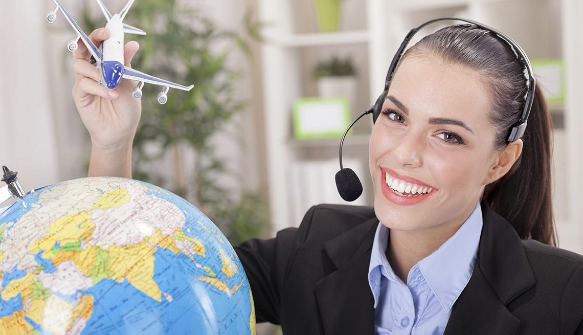 Smiling Young Woman Phone Agent, Toy Plane Globe, Airport Navigation Tips