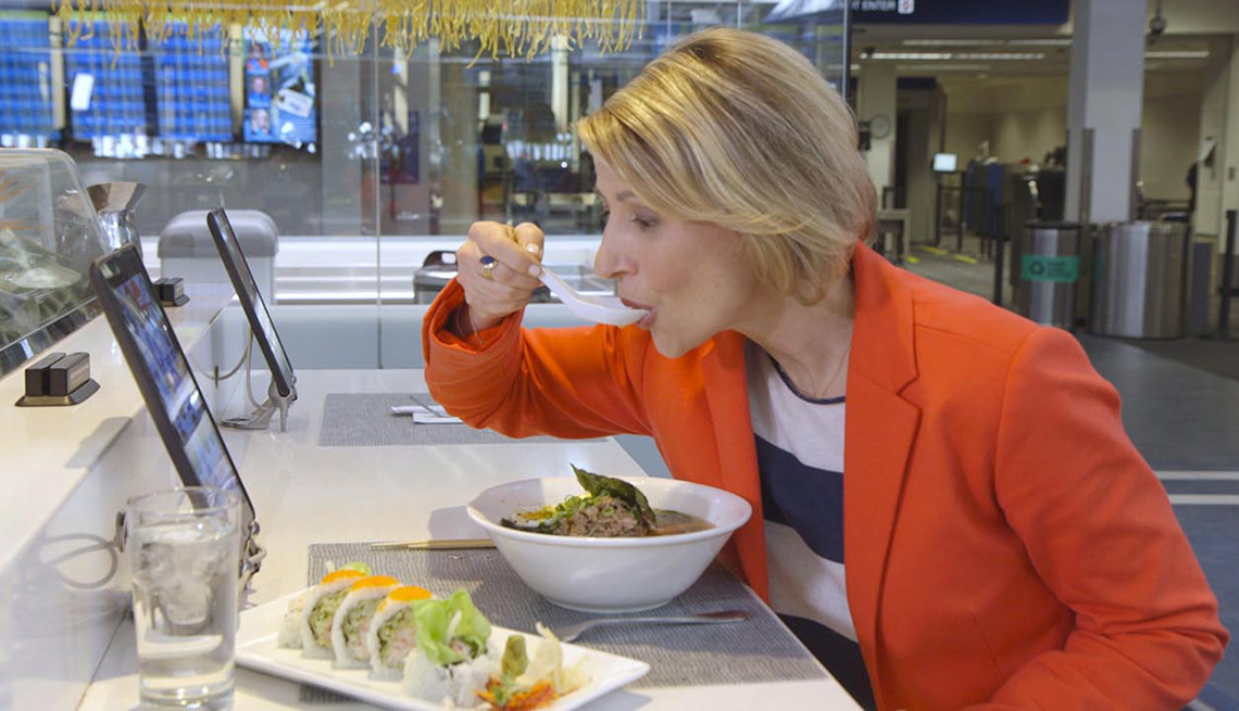 Travel Expert Samantha Brown Eating Soup At Airport Food Stall, Meet Samantha Brown