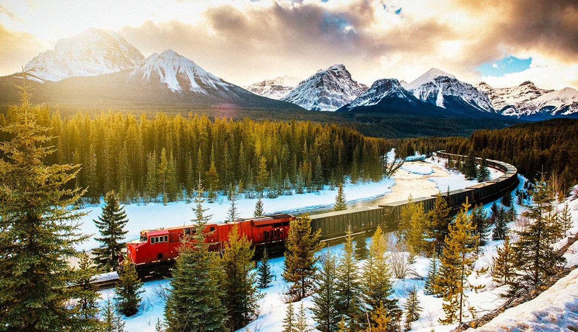 Train thru Rocky Mountains  Snowy Forest, Great All-Inclusive Vacations