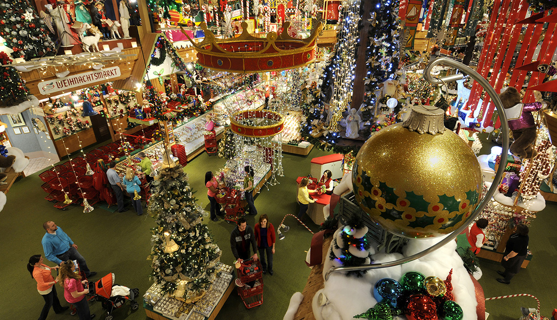 High Angle View, Christmas Ornaments, Families Bronners Christmas Wonderland , Frankenmuth, Mich.