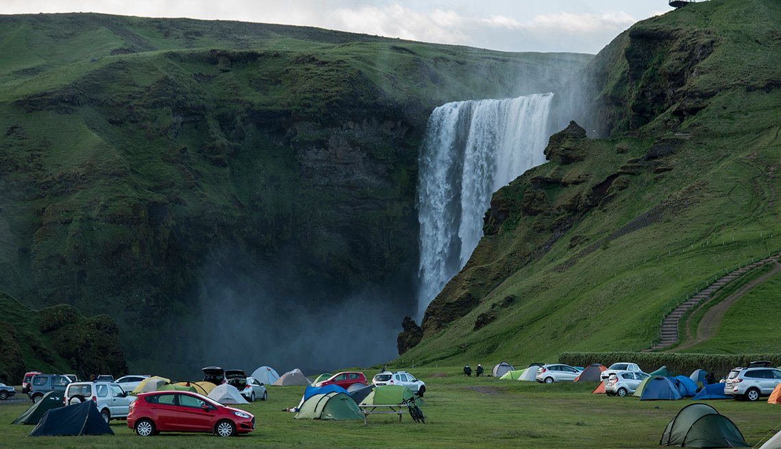 Cars, Tents, Camping, Skogafoss Waterfall, Iceland, Americans Hot on Iceland