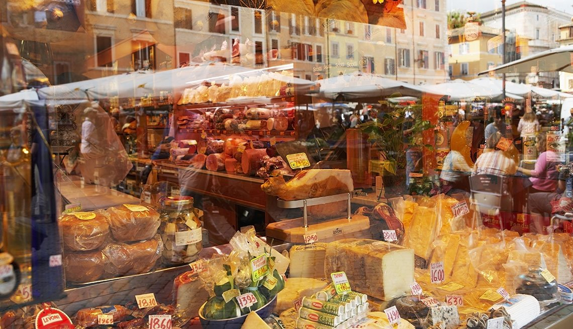 View Of All The Goods Sold At Campo Dei Fiori In Rome Italy, Places To Visit In Rome