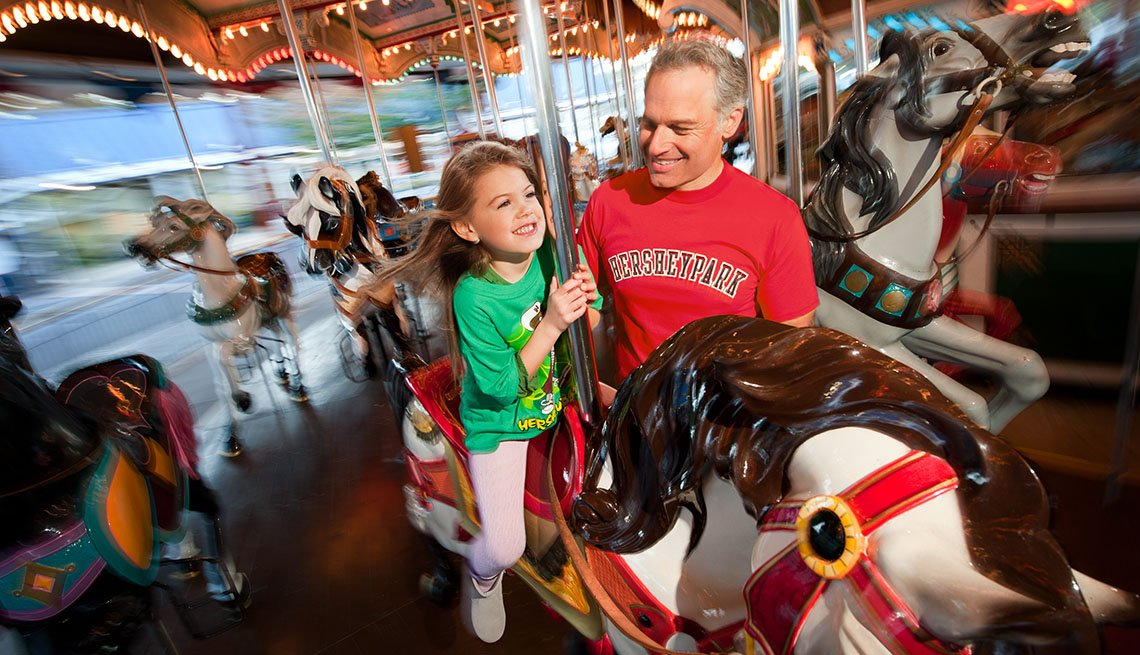 Man Holds Daughter On The Carousel At Hershey Park In Hershey Pennsylvania, Best Amusement Parks For The Family