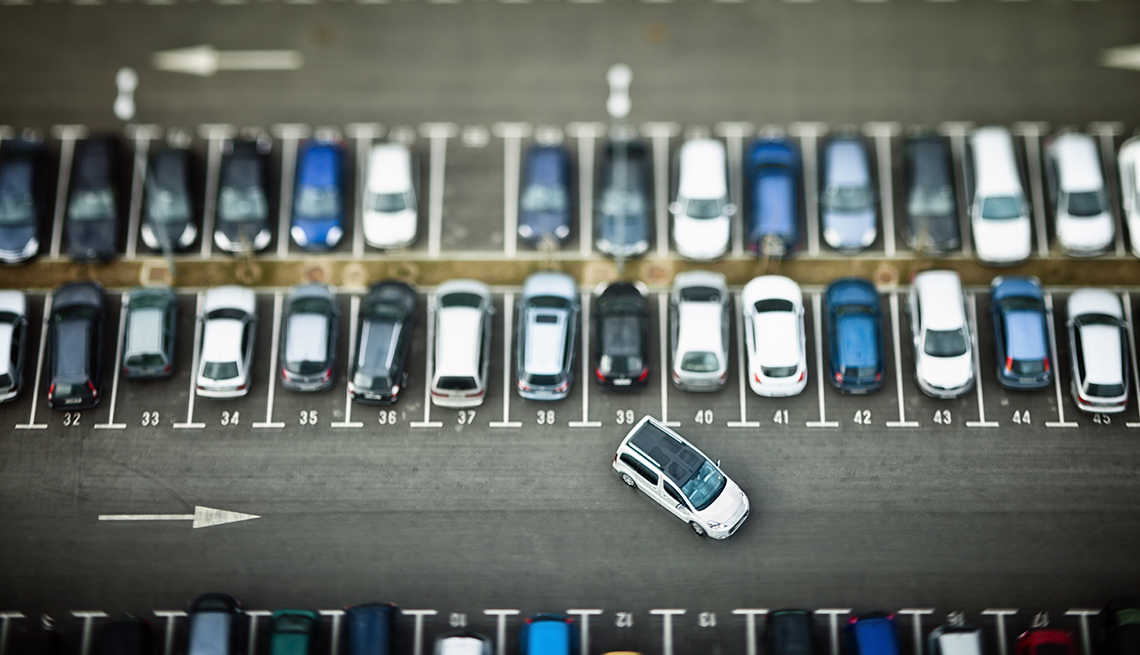 Cars in Numbered Spaces, Aerial View Parking Lot, Airport Navigation Tips