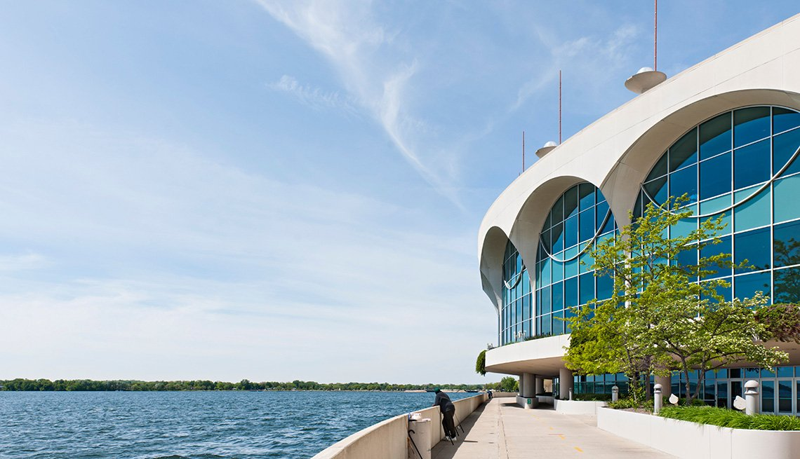 View Of The Monona Terrace At Convention Center In Madison Wisconsin, One Tank Road Trips