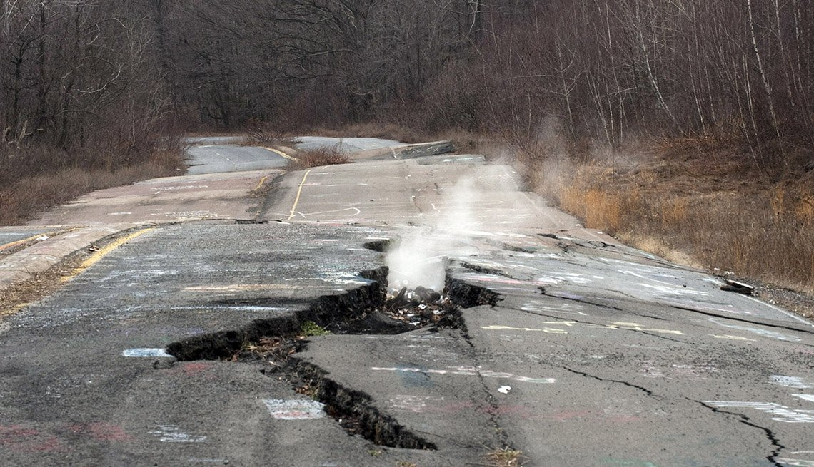 A Crack In The Road Near Centralia Pennsylvania Where Smoke Rises Out Of The Ground, Strange Destinations