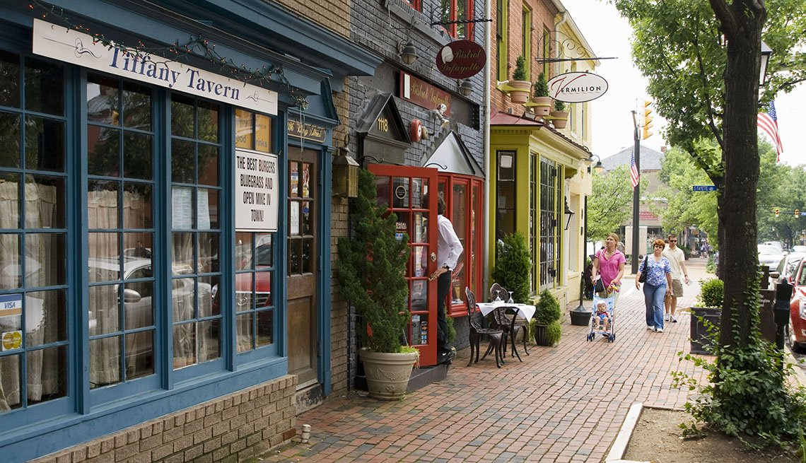 View Of The Cobbled Streets And Stores And Restaurants In Old Town Alexandria Virginia, One Tank Road Trips
