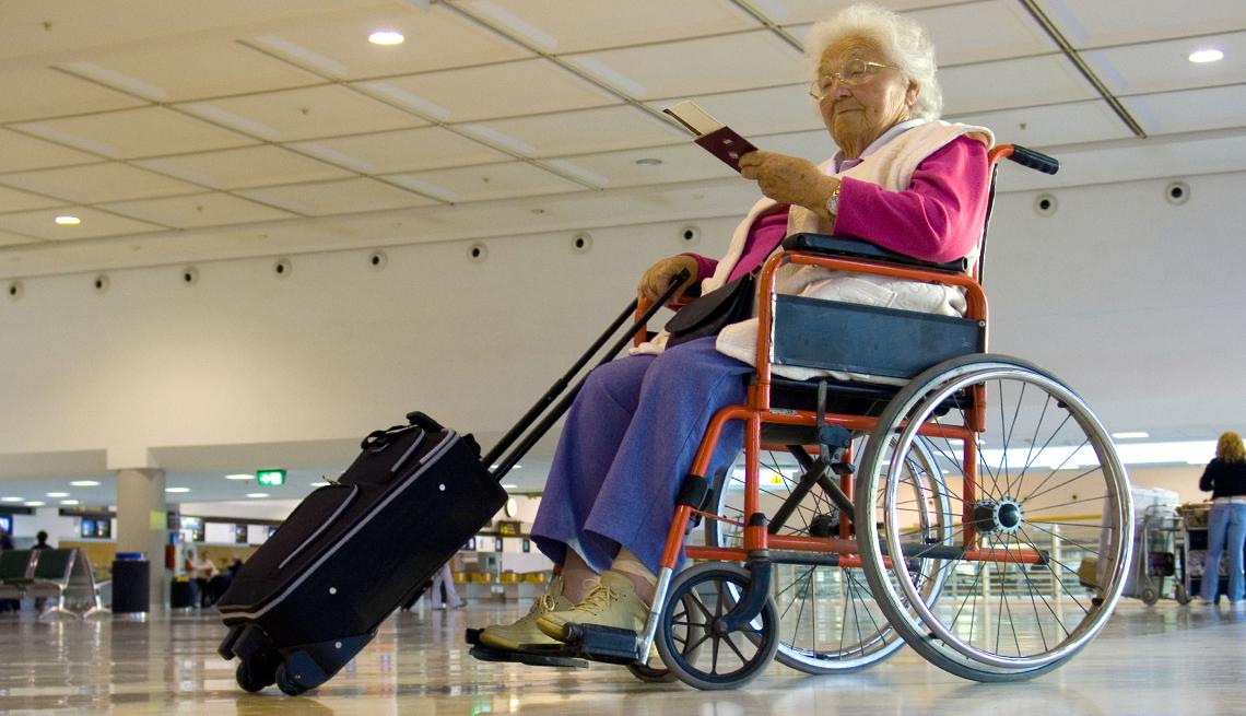 Elderly Woman Suitcase Wheelchair,  Airport Navigation Tips