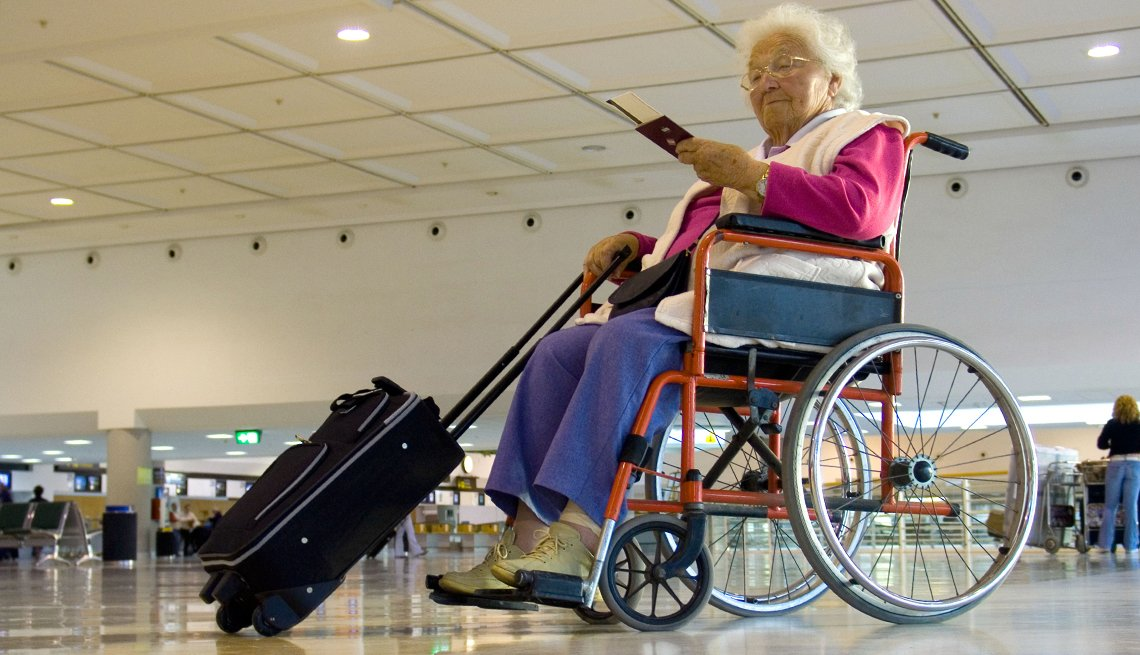 Elderly Woman Suitcase Wheelchair,  Airport Navigation Tips