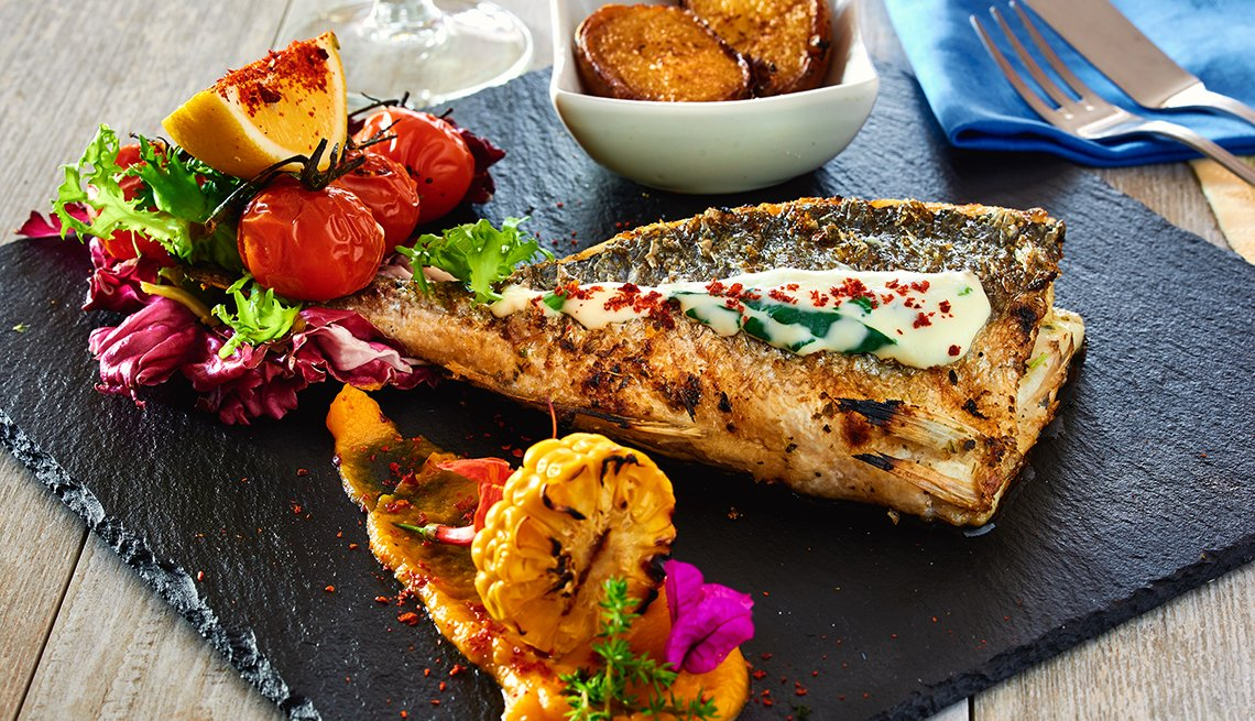 Grilled fish with Potatos, Black Plate Sauces, Top Food Towns in the U.S.