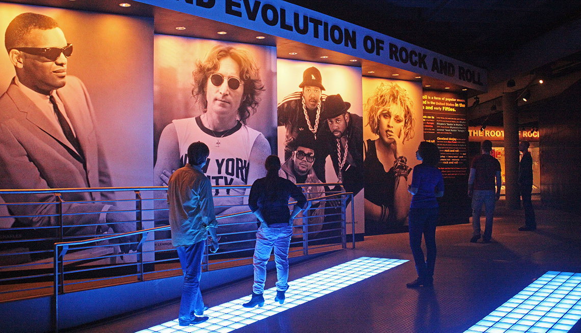 Museum Visitors At The Rock N' Roll Museum In Cleveland, Cleveland By Lorrie Lynch
