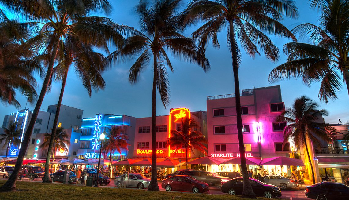 Palm Trees, Neon Hotels, Night, Romantic Getaways for 2016