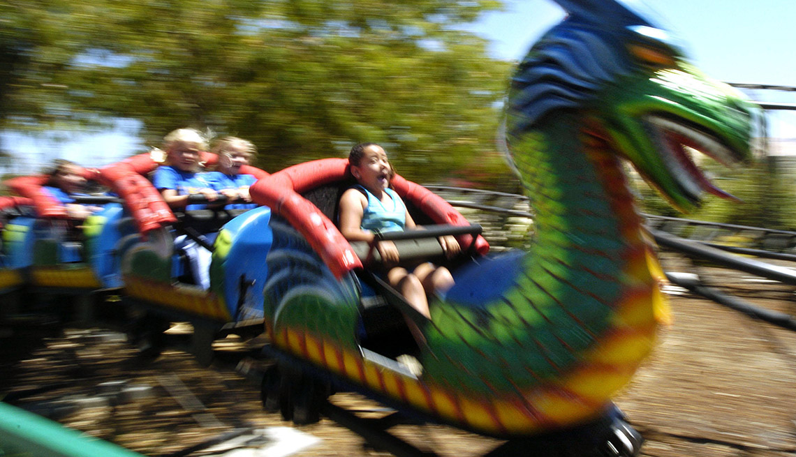 Little Kids On A Kids Roller Coaster At Pixieland In Concord California, Best Amusement Parks For The Family