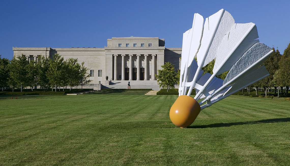 Giant Shuttlecock Sculpture In Front Of Nelson Atkins Museum Of Art In Kansas City Missouri, Strange Destinations