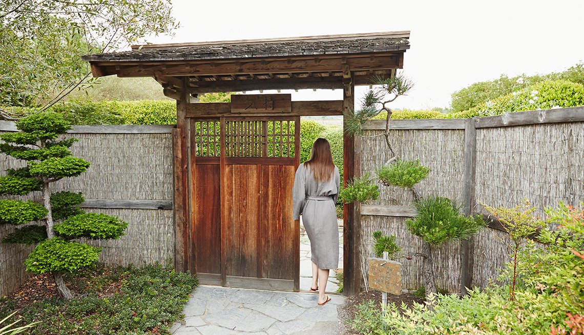 Caucasian Woman Japanese Gate Spa, Wellness Resort, Great All-Inclusive Vacations