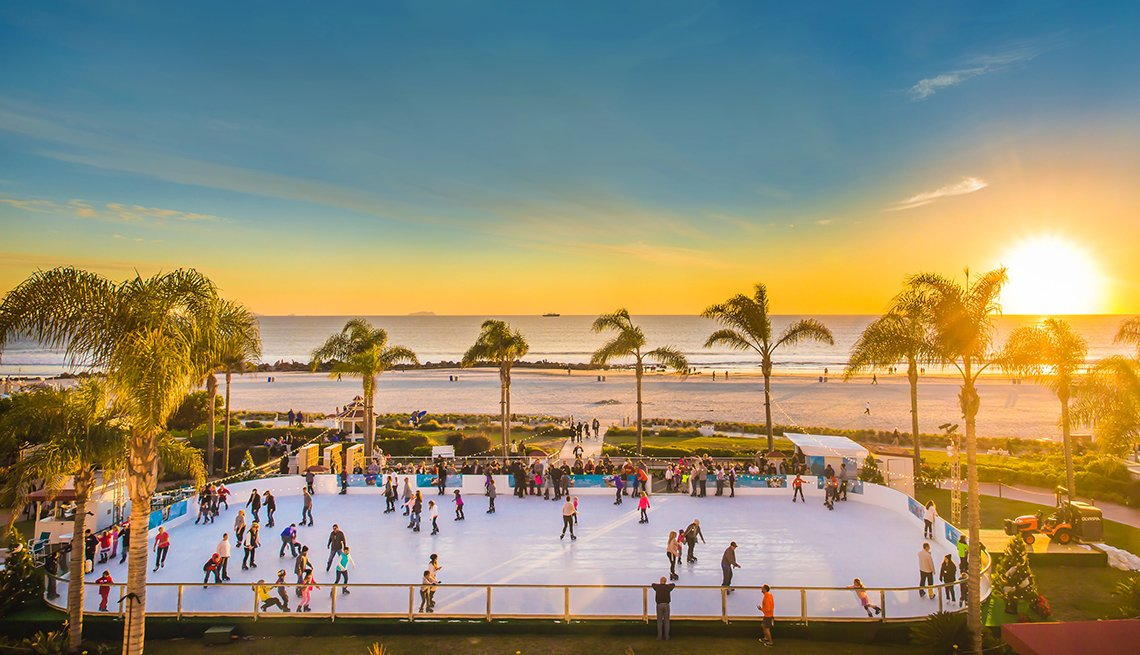 Ice Skating Beach, Sunset, Hotel del Coronado, Hotel Getaways for the Holidays
