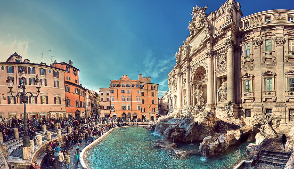 View Of Trevi Fountain And Visitors In Rome, Places To Visit In Rome
