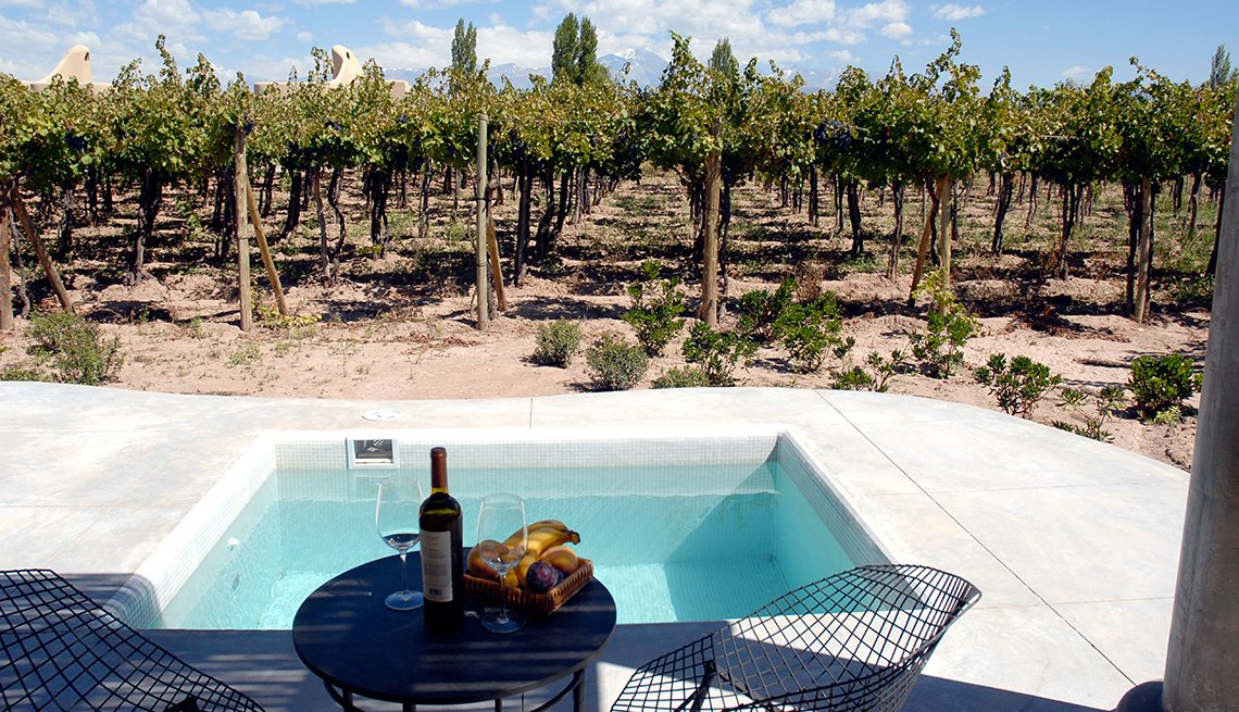 Vineyard, Table Glasses Botltle Spa, Mendoza, Argentina, Romantic Getaways for 2016