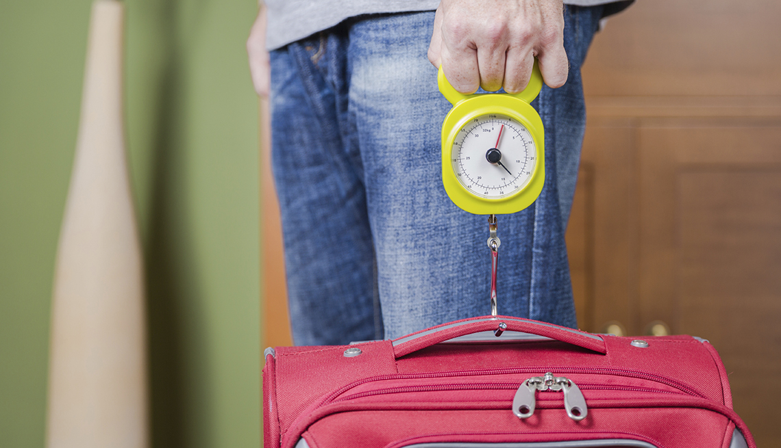 Man Weighs Red Suitcase, Steelyard Balance, Airport Navigation Tips