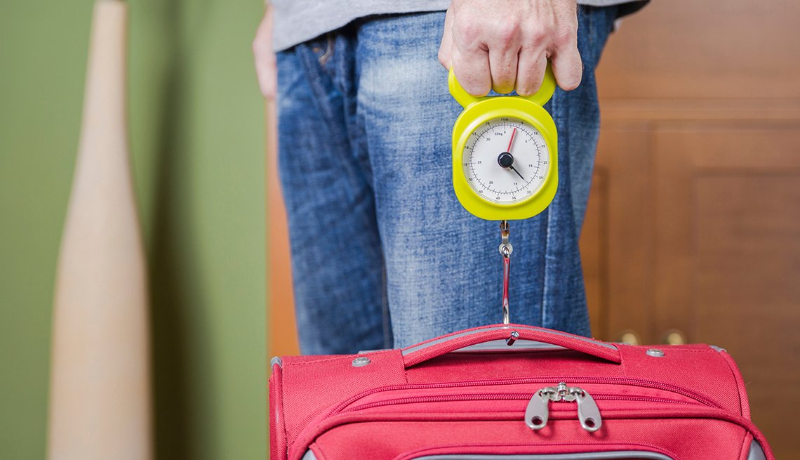 Man Weighs Red Suitcase, Steelyard Balance, Airport Navigation Tips