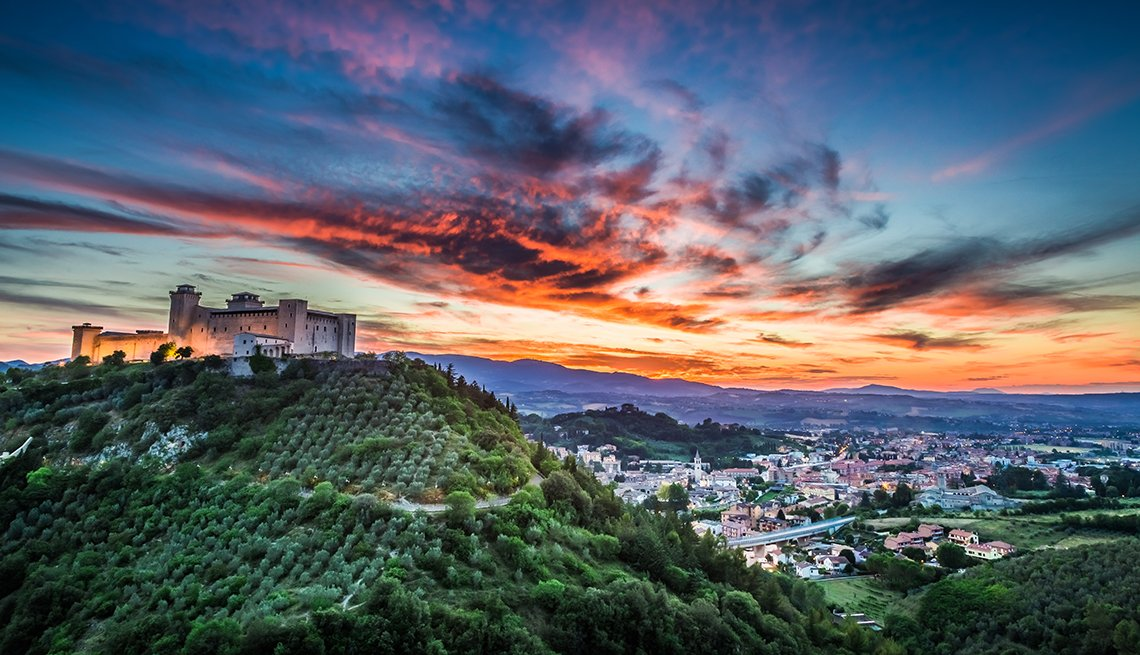 A Beautiful Sunset Over A Castle In Umbria Italy, Travel Picks For 2017