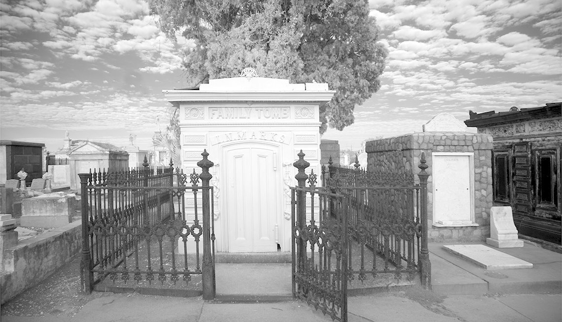 Black And White Photo Of One Of The Many Family Tombs In A New Orleans Cemetary, Ghost Tours