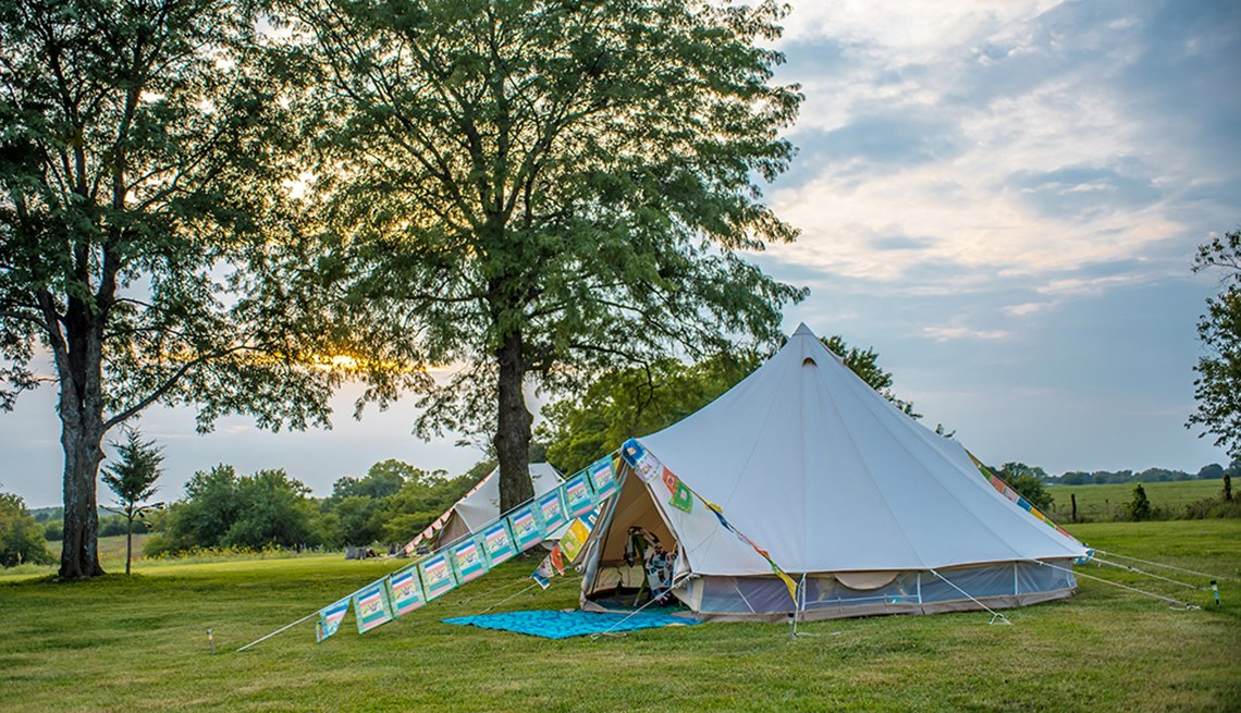 Bell Tent at Hoot Owl Gardens campground