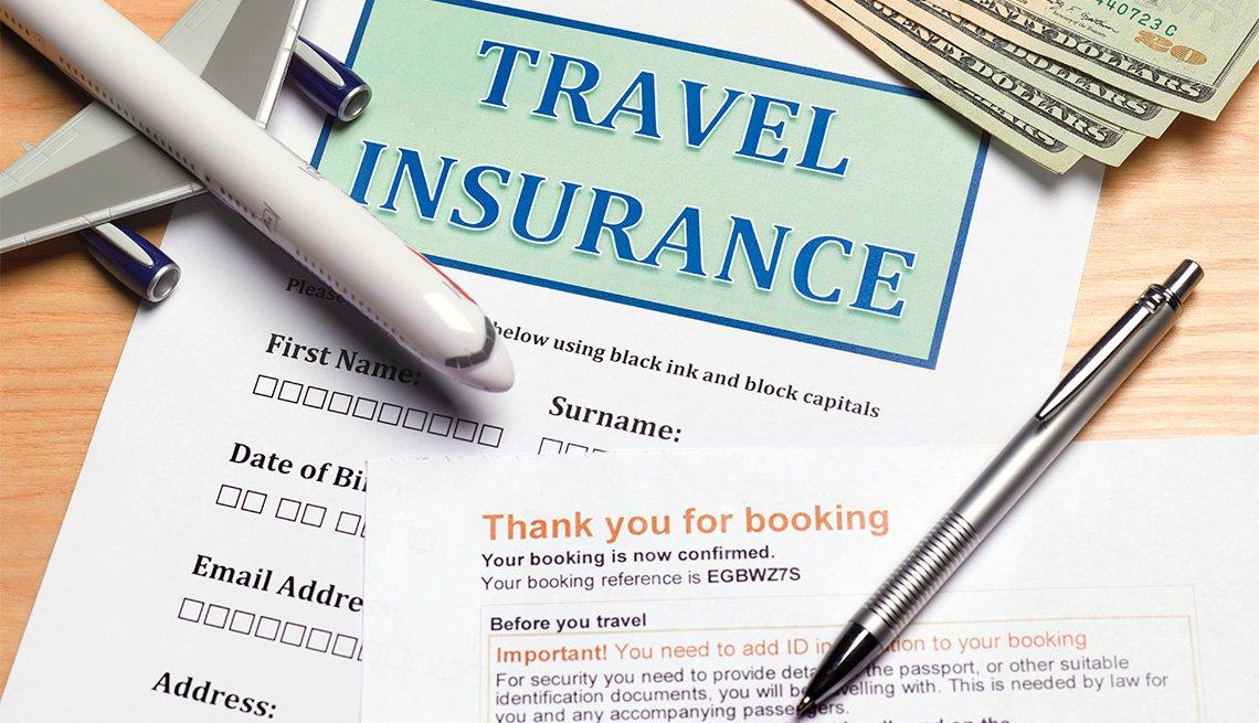 Formulario de seguro de viaje dice en inglés -Travel Insurance-