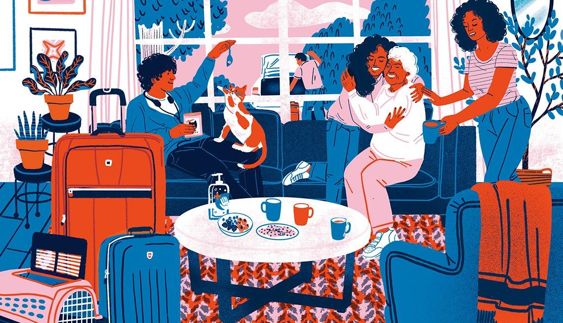 Ilustración de un invitado en una casa de familia