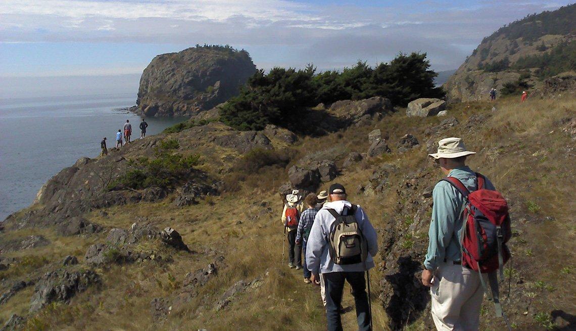 Excursionistas en las islas San Juan