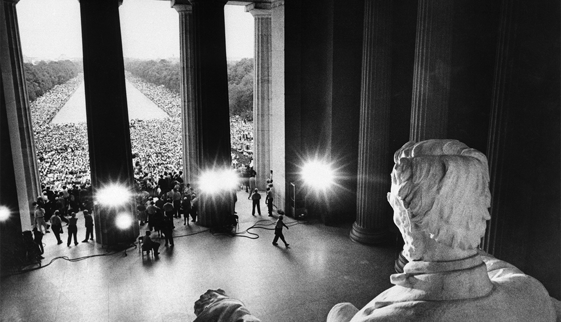 """""""March on Washington participants, marching from the Washington Monument, gather in front of the Lincoln Memorial to protest race discrimination."""""""