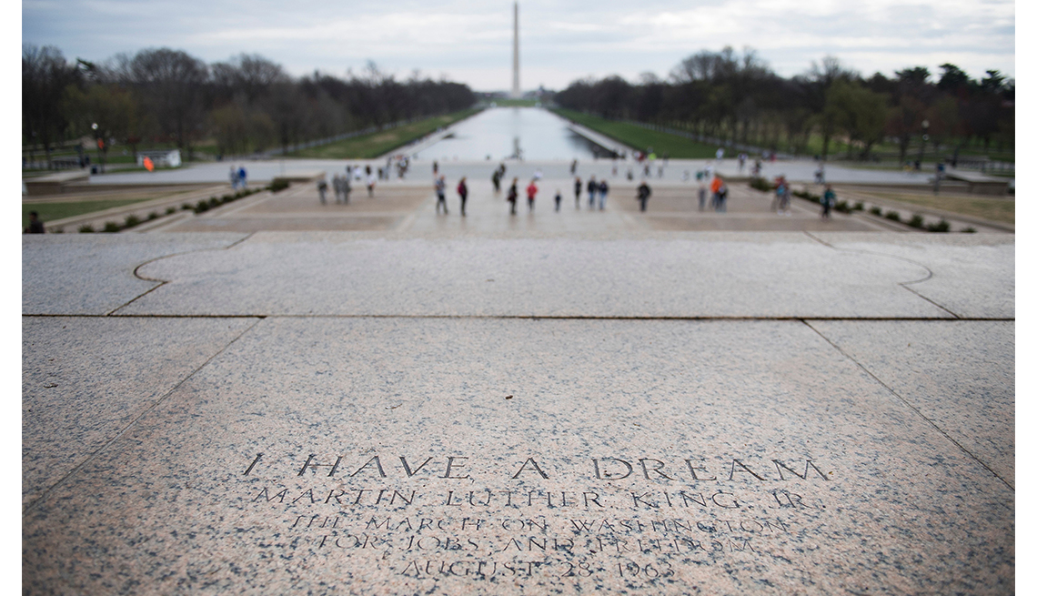 """Etched into the stone on the steps of the Lincoln Memorial, a marker of the exact spot Dr. Martin Luther King, Jr. stood to deliver the """"I Have a Dream"""" speech in 1963"""