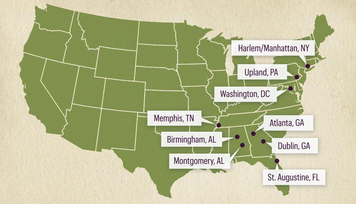 Mapa de los EE. UU. que muestra las ciudades que recorrió Martin Luther King Jr.