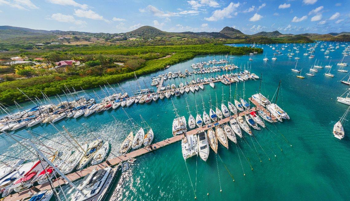 Foto aérea de un puerto lleno de barcos en la isla tropical de Martinica