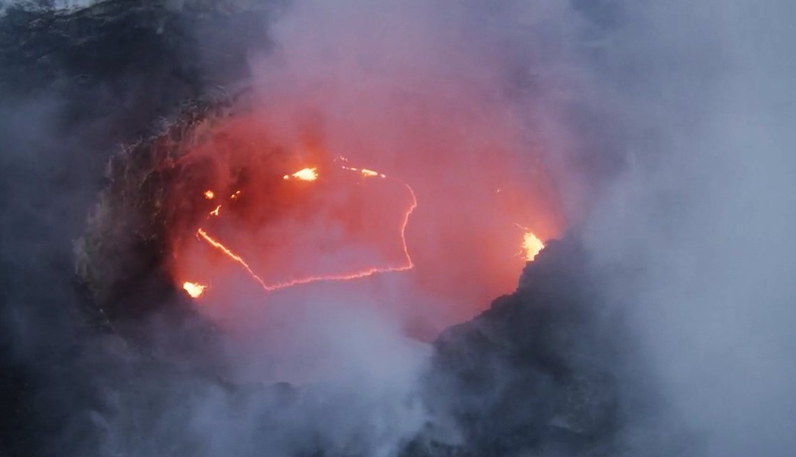 photo of the hawaiian volcano kilauea erupting as seen form above