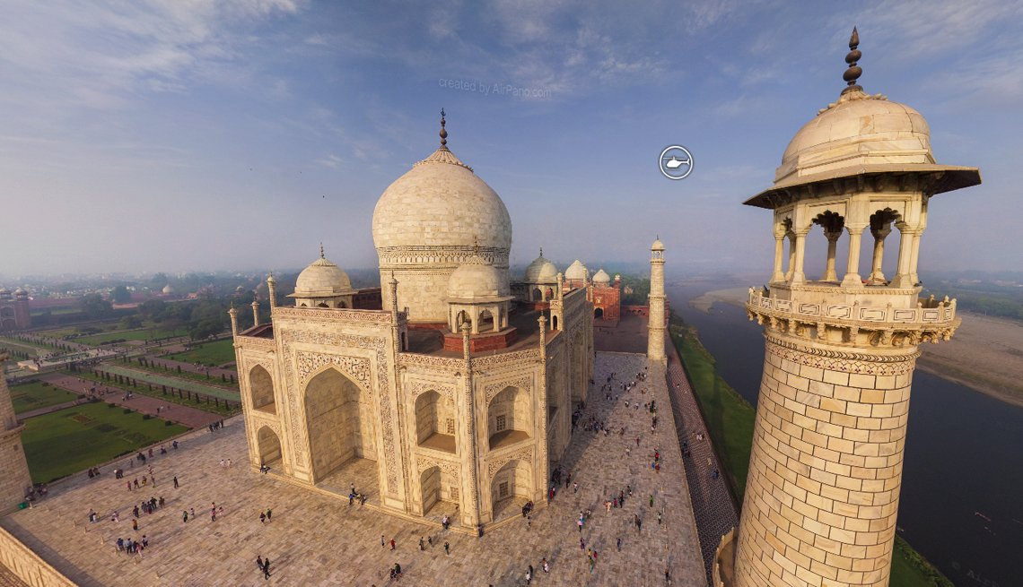item 6 of Gallery image - stunning overhead shot of the taj mahal in india showing the view from the northwest