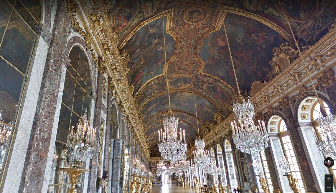 the hall of mirrors in the palace of versailles as seen from a virtual tour