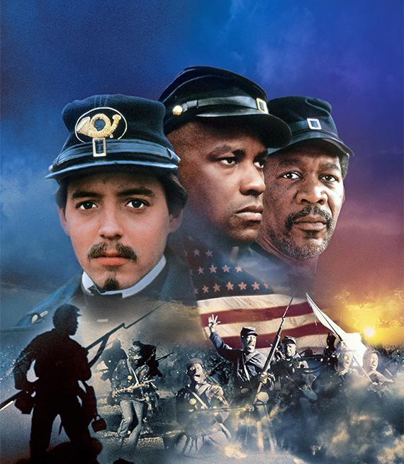 "Matthew Broderick, Denzel Washington, Morgan Freeman ""Glory"" movie poster"