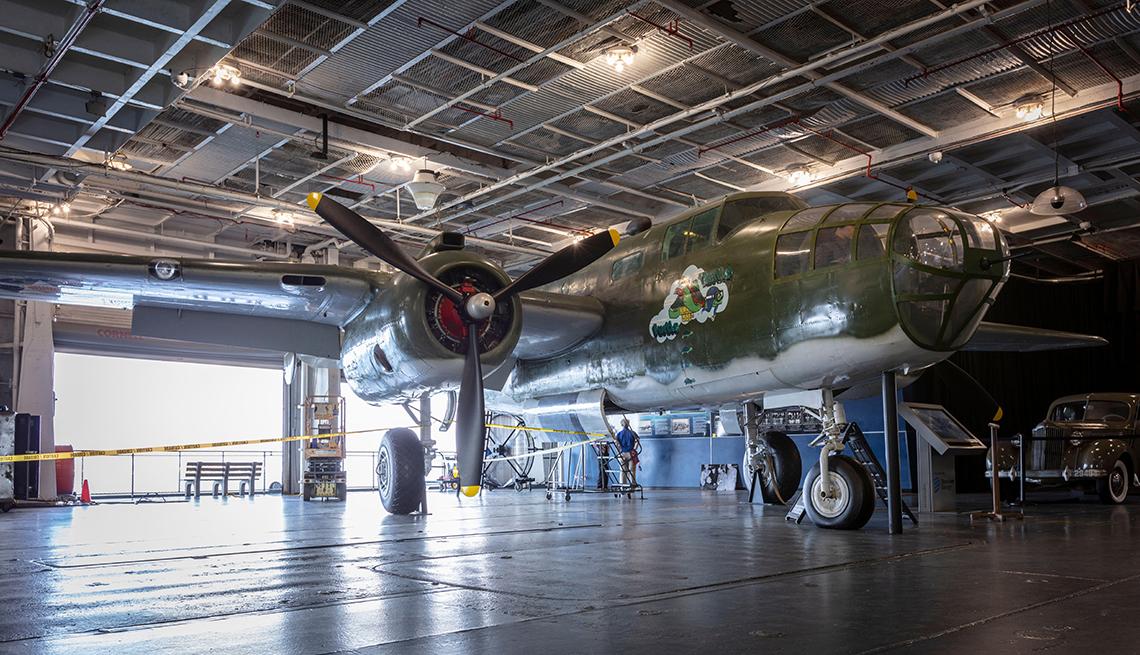 B 25 Mitchell on the hangar deck of the uss yorktown