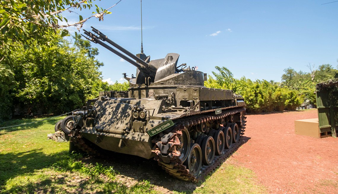 a tank on display in patriots point's vietnam experience