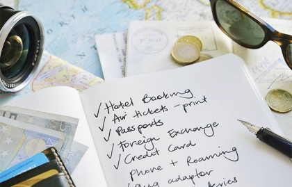 Travel checklist with maps, passport, money etc, Tips For International Travel