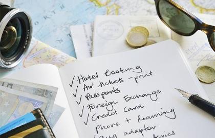 Travel checklist with maps, passport, money etc, Tips For International Travel